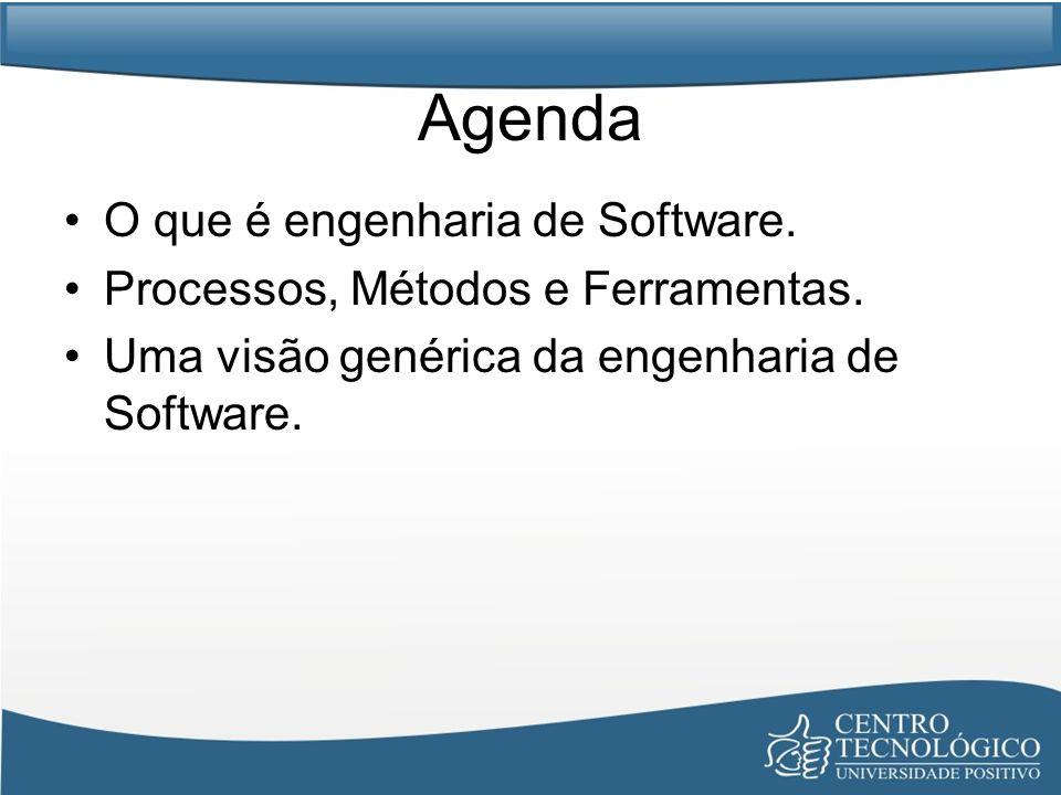 Agenda O que é engenharia de Software. Processos, Métodos e Ferramentas. Uma visão genérica da engenharia de Software.
