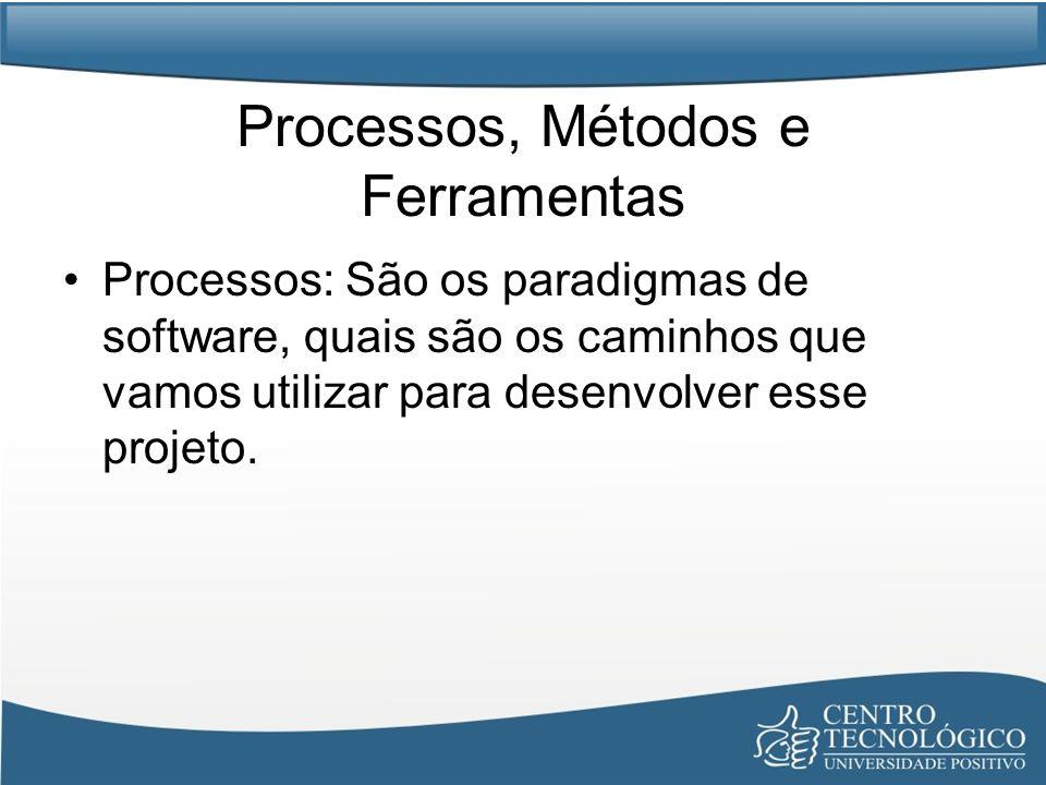 Processos, Métodos e Ferramentas Processos: São os paradigmas de software, quais são os caminhos que vamos utilizar para desenvolver esse projeto.