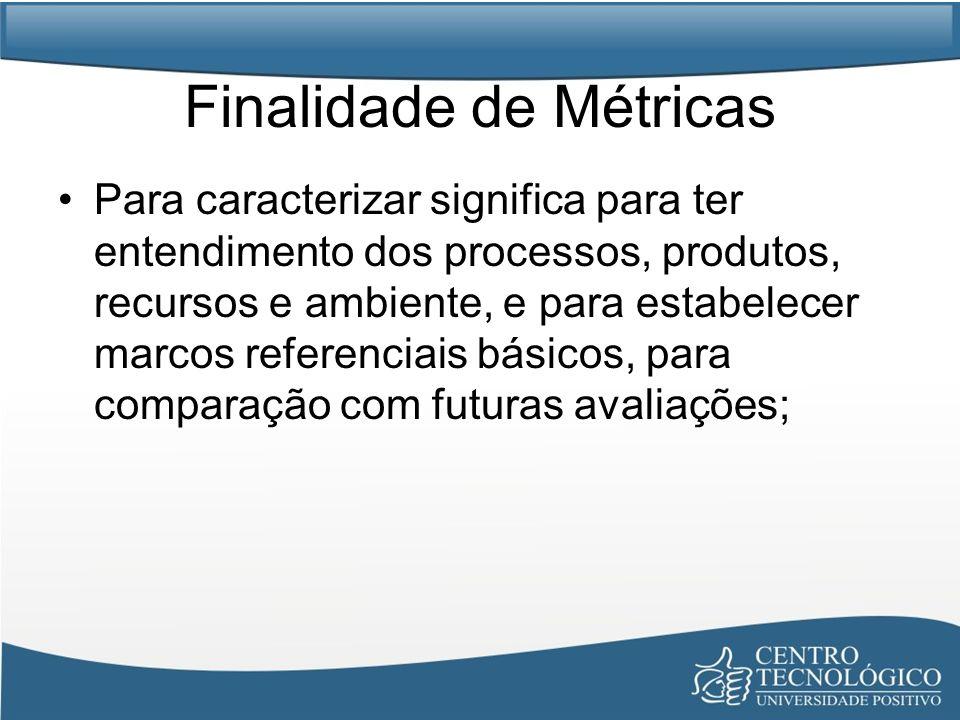 Finalidade de Métricas Para caracterizar significa para ter entendimento dos processos, produtos, recursos e ambiente, e para estabelecer marcos refer