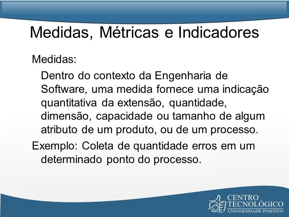 Medidas, Métricas e Indicadores Medidas: Dentro do contexto da Engenharia de Software, uma medida fornece uma indicação quantitativa da extensão, quan