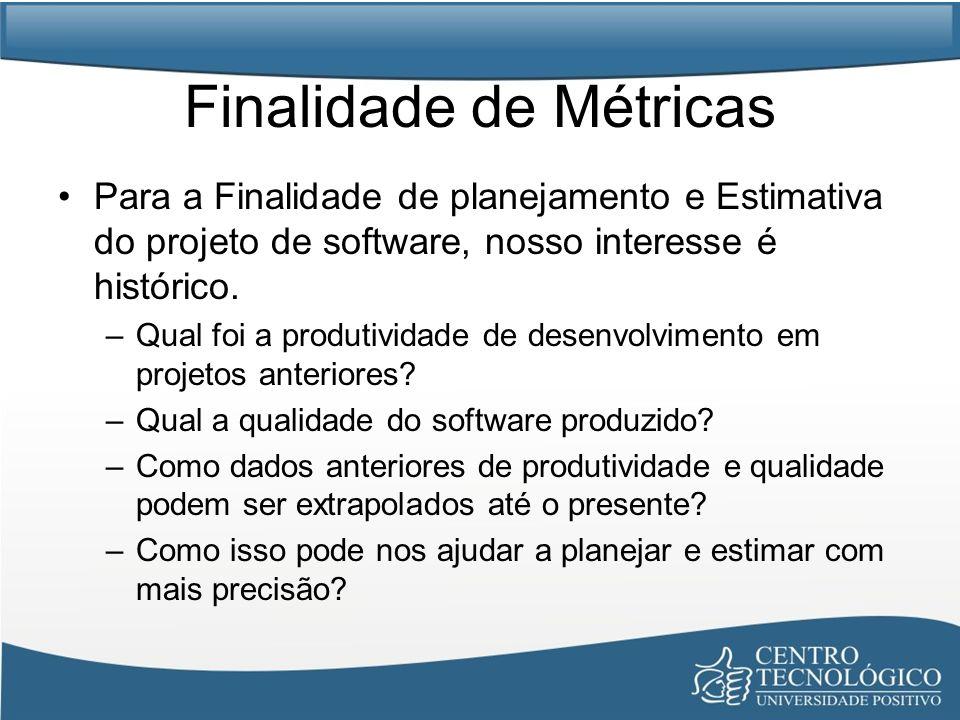 Finalidade de Métricas Para a Finalidade de planejamento e Estimativa do projeto de software, nosso interesse é histórico. –Qual foi a produtividade d