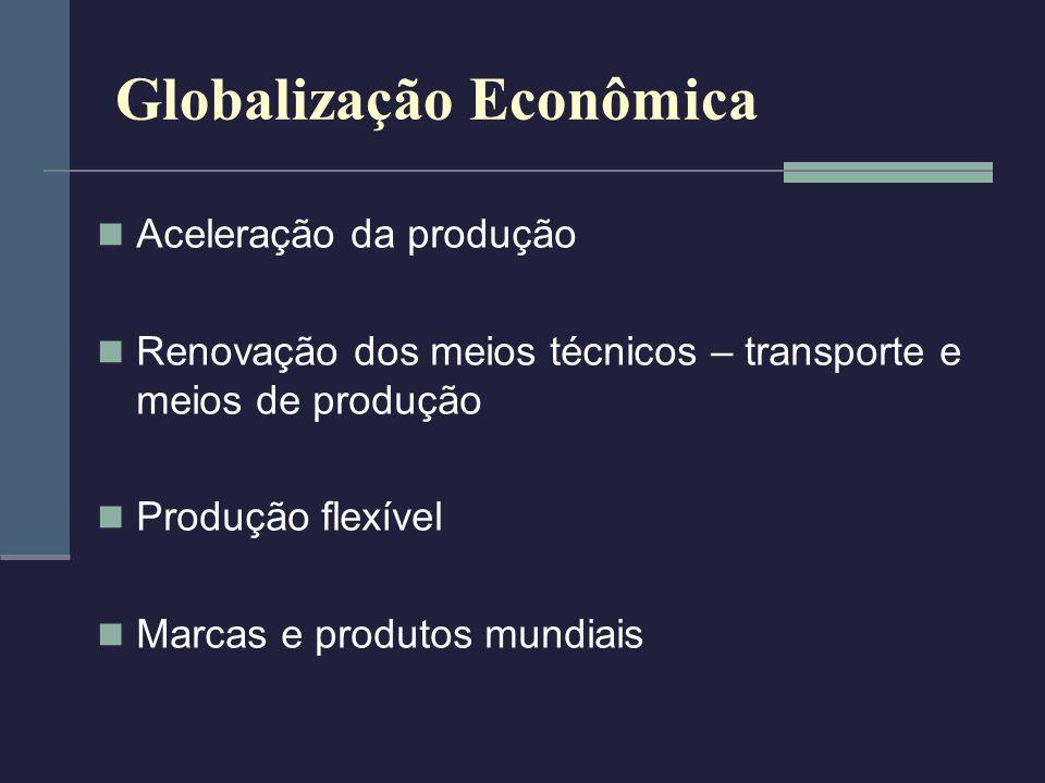 Globalização Econômica Aceleração da produção Renovação dos meios técnicos – transporte e meios de produção Produção flexível Marcas e produtos mundia