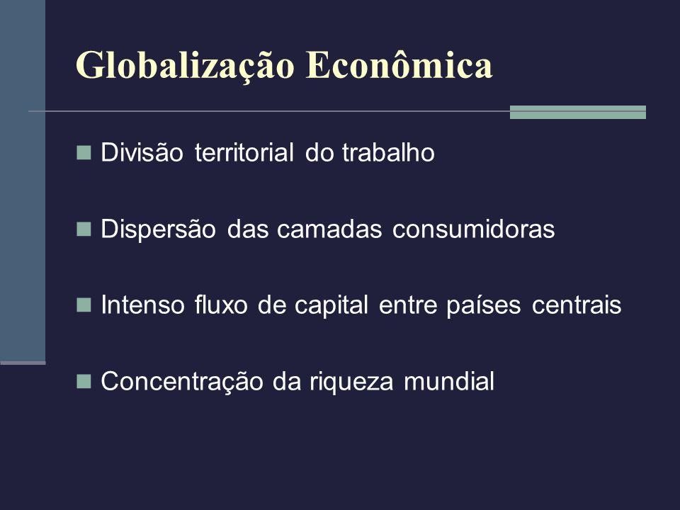 Globalização Econômica Divisão territorial do trabalho Dispersão das camadas consumidoras Intenso fluxo de capital entre países centrais Concentração