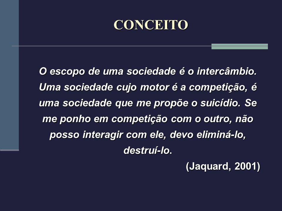 O escopo de uma sociedade é o intercâmbio. Uma sociedade cujo motor é a competição, é uma sociedade que me propõe o suicídio. Se me ponho em competiçã