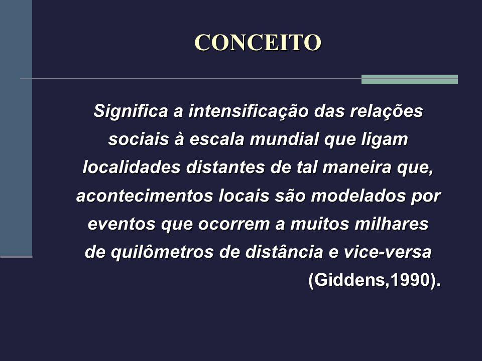 Significa a intensificação das relações sociais à escala mundial que ligam localidades distantes de tal maneira que, acontecimentos locais são modelad