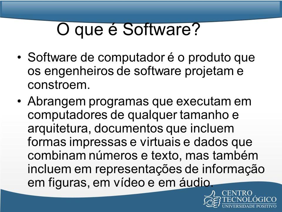 Características do Software O Software é um elemento de um sistema lógico e não de um sistema físico.