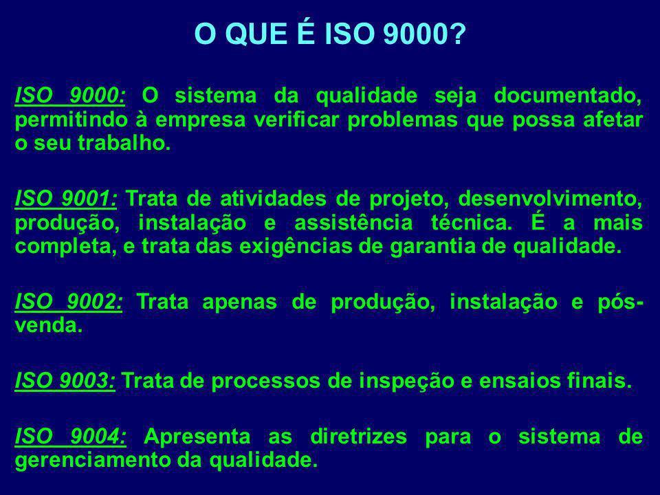 ISO 9000: O sistema da qualidade seja documentado, permitindo à empresa verificar problemas que possa afetar o seu trabalho. ISO 9001: Trata de ativid