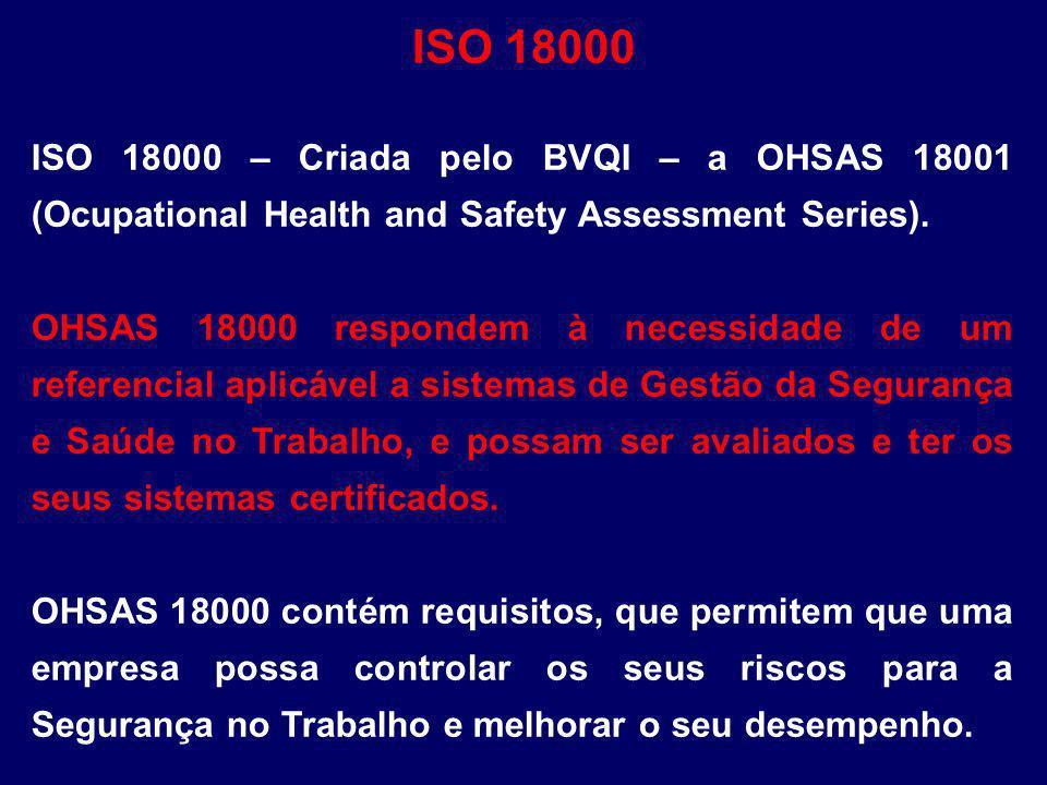 ISO 18000 – Criada pelo BVQI – a OHSAS 18001 (Ocupational Health and Safety Assessment Series). OHSAS 18000 respondem à necessidade de um referencial