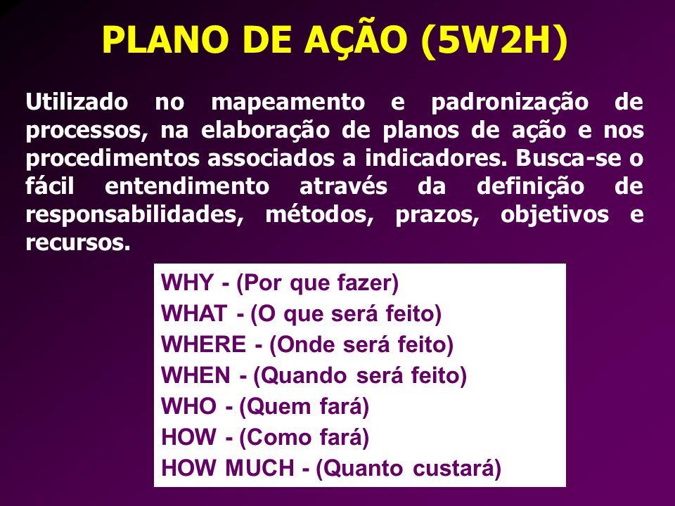PLANO DE AÇÃO (5W2H) Utilizado no mapeamento e padronização de processos, na elaboração de planos de ação e nos procedimentos associados a indicadores