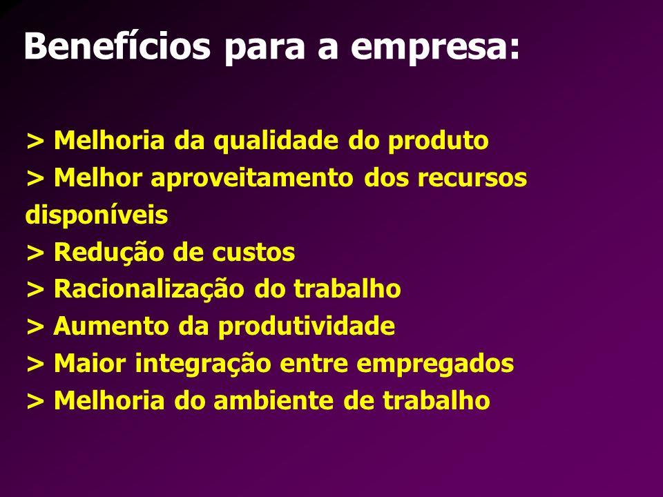 Benefícios para a empresa: > Melhoria da qualidade do produto > Melhor aproveitamento dos recursos disponíveis > Redução de custos > Racionalização do