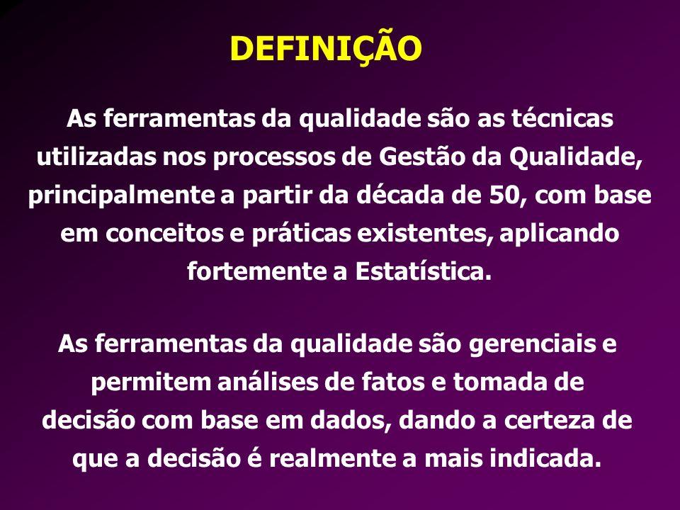 DEFINIÇÃO As ferramentas da qualidade são as técnicas utilizadas nos processos de Gestão da Qualidade, principalmente a partir da década de 50, com ba