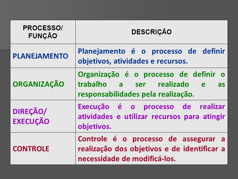 PROCESSO/ FUNÇÃO DESCRIÇÃO PLANEJAMENTO Planejamento é o processo de definir objetivos, atividades e recursos.