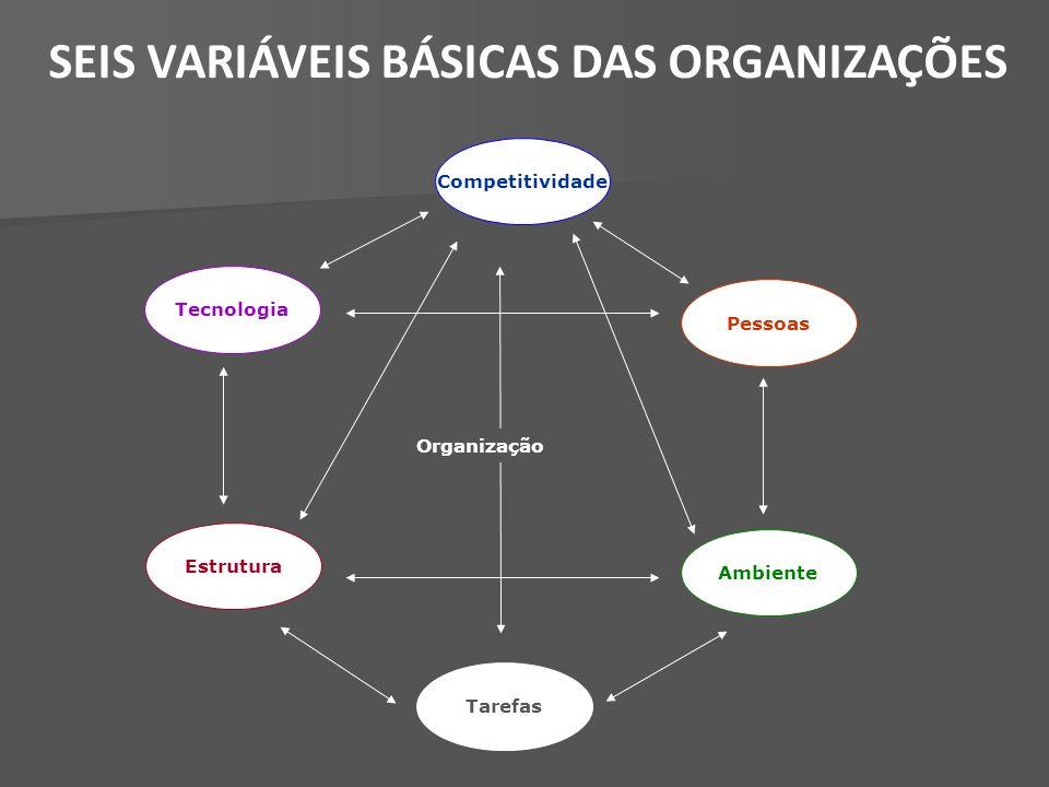 Tecnologia Tarefas Estrutura Pessoas Ambiente Competitividade Organização SEIS VARIÁVEIS BÁSICAS DAS ORGANIZAÇÕES