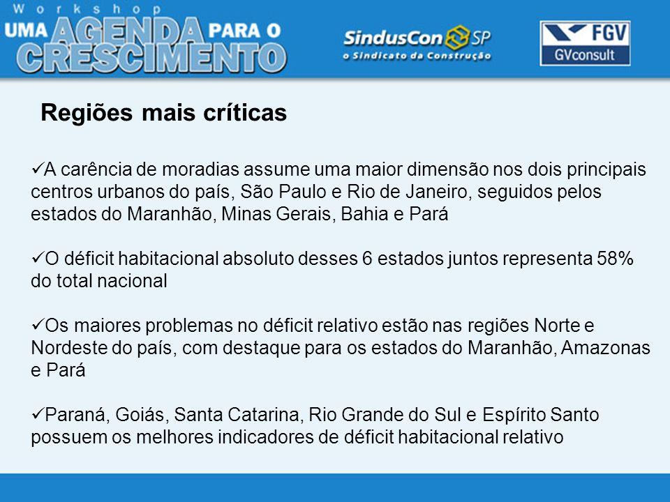 A carência de moradias assume uma maior dimensão nos dois principais centros urbanos do país, São Paulo e Rio de Janeiro, seguidos pelos estados do Ma