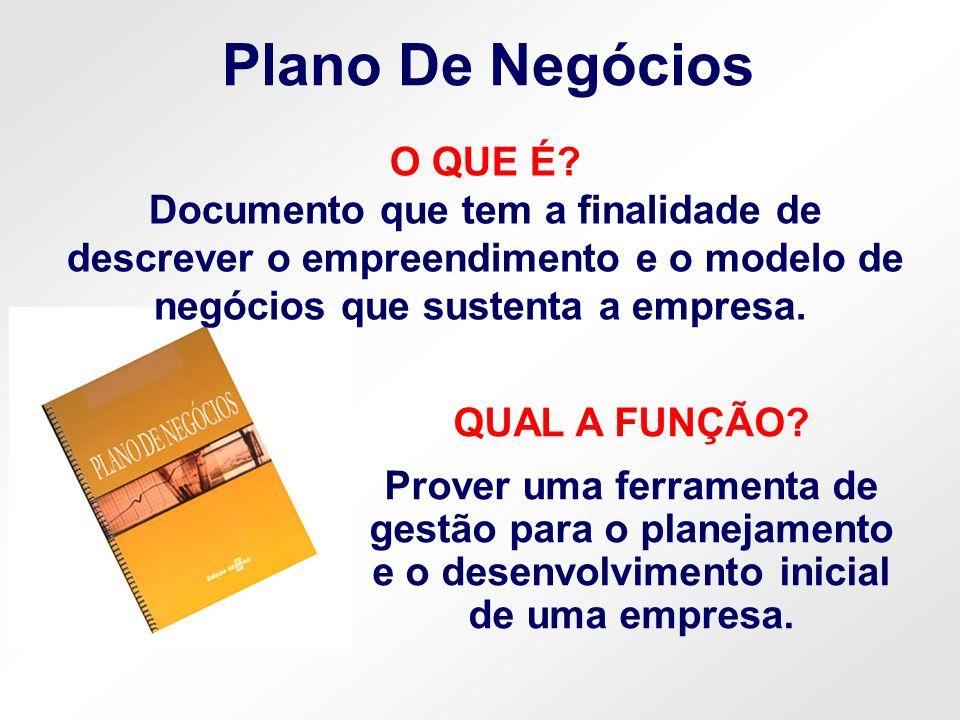 Plano De Negócios QUAL A FUNÇÃO? Prover uma ferramenta de gestão para o planejamento e o desenvolvimento inicial de uma empresa. O QUE É? Documento qu
