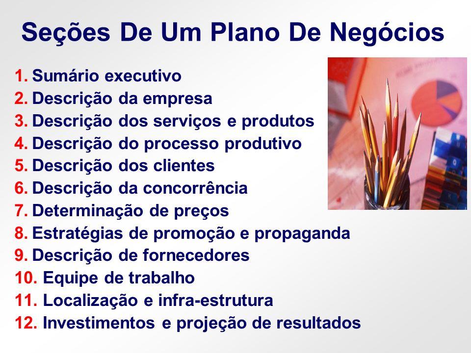 Seções De Um Plano De Negócios 1.Sumário executivo 2.Descrição da empresa 3.Descrição dos serviços e produtos 4.Descrição do processo produtivo 5.Desc