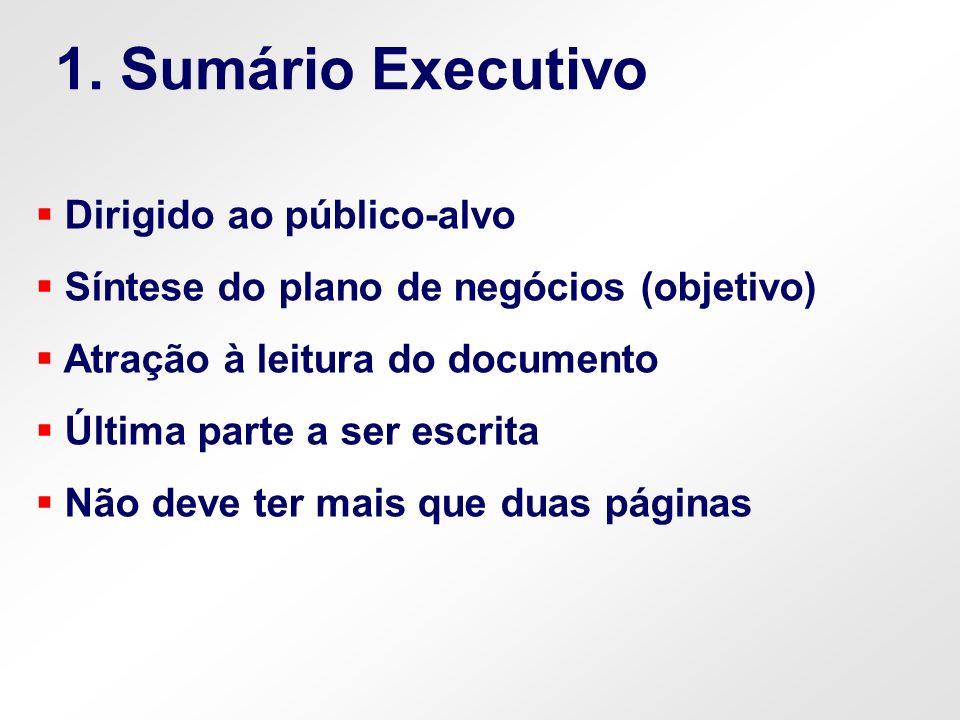 Dirigido ao público-alvo Síntese do plano de negócios (objetivo) Atração à leitura do documento Última parte a ser escrita Não deve ter mais que duas