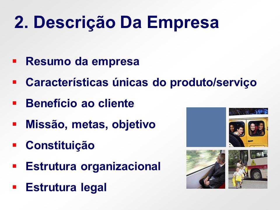Resumo da empresa Características únicas do produto/serviço Benefício ao cliente Missão, metas, objetivo Constituição Estrutura organizacional Estrutu
