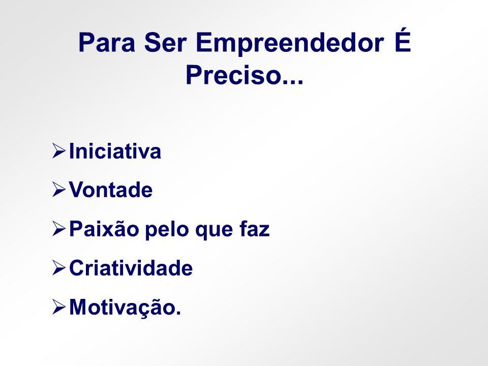 Iniciativa Vontade Paixão pelo que faz Criatividade Motivação. Para Ser Empreendedor É Preciso...