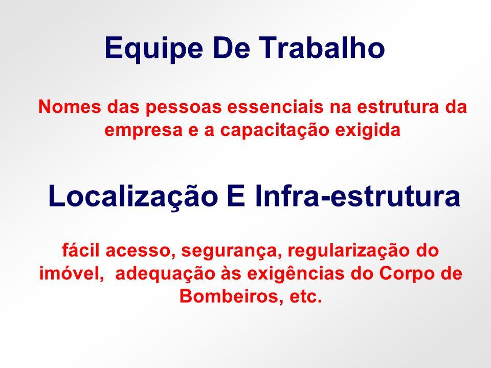 Equipe De Trabalho Localização E Infra-estrutura Nomes das pessoas essenciais na estrutura da empresa e a capacitação exigida fácil acesso, segurança,