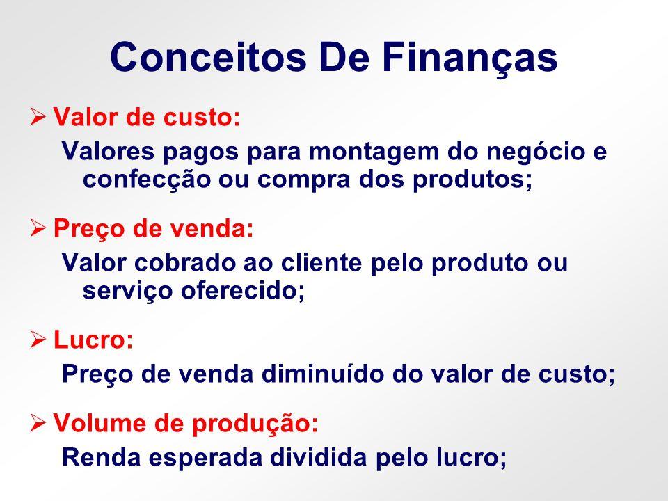 Conceitos De Finanças Valor de custo: Valores pagos para montagem do negócio e confecção ou compra dos produtos; Preço de venda: Valor cobrado ao clie