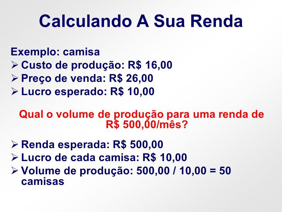 Calculando A Sua Renda Exemplo: camisa Custo de produção: R$ 16,00 Preço de venda: R$ 26,00 Lucro esperado: R$ 10,00 Qual o volume de produção para um