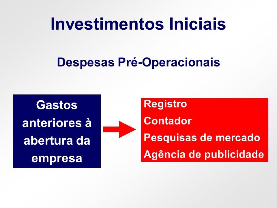 Investimentos Iniciais Despesas Pré-Operacionais Gastos anteriores à abertura da empresa Registro Contador Pesquisas de mercado Agência de publicidade