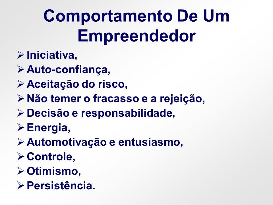 Comportamento De Um Empreendedor Iniciativa, Auto-confiança, Aceitação do risco, Não temer o fracasso e a rejeição, Decisão e responsabilidade, Energi