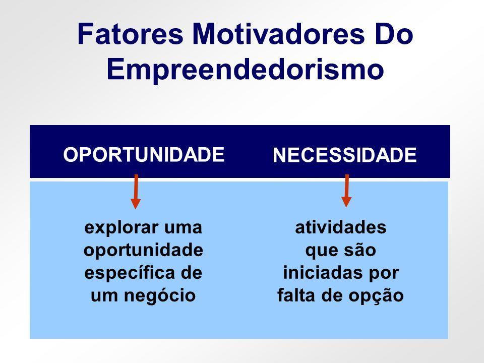 Fatores Motivadores Do Empreendedorismo explorar uma oportunidade específica de um negócio OPORTUNIDADE atividades que são iniciadas por falta de opçã