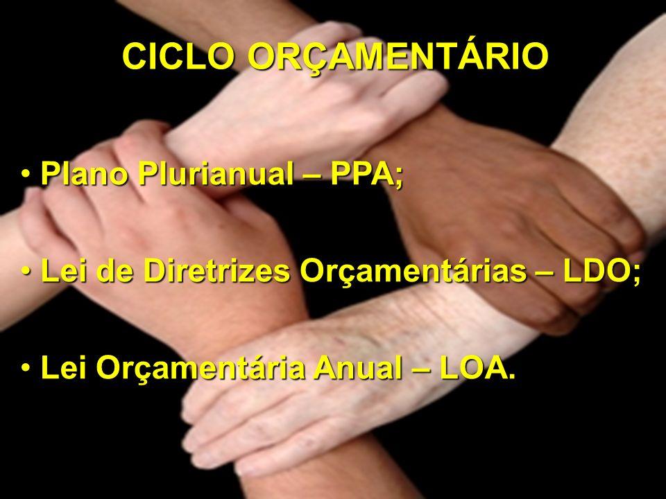 PLANO PLURIANUAL (PPA) Deve ser feito a partir de um diagnóstico global do município e da discussão com a Câmara e a sociedade civil para a sua aprovação.