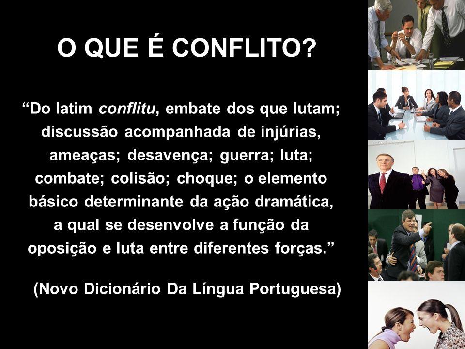 O QUE É CONFLITO? Do latim conflitu, embate dos que lutam; discussão acompanhada de injúrias, ameaças; desavença; guerra; luta; combate; colisão; choq