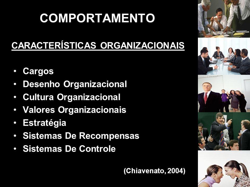 COMPORTAMENTO Cargos Desenho Organizacional Cultura Organizacional Valores Organizacionais Estratégia Sistemas De Recompensas Sistemas De Controle (Ch