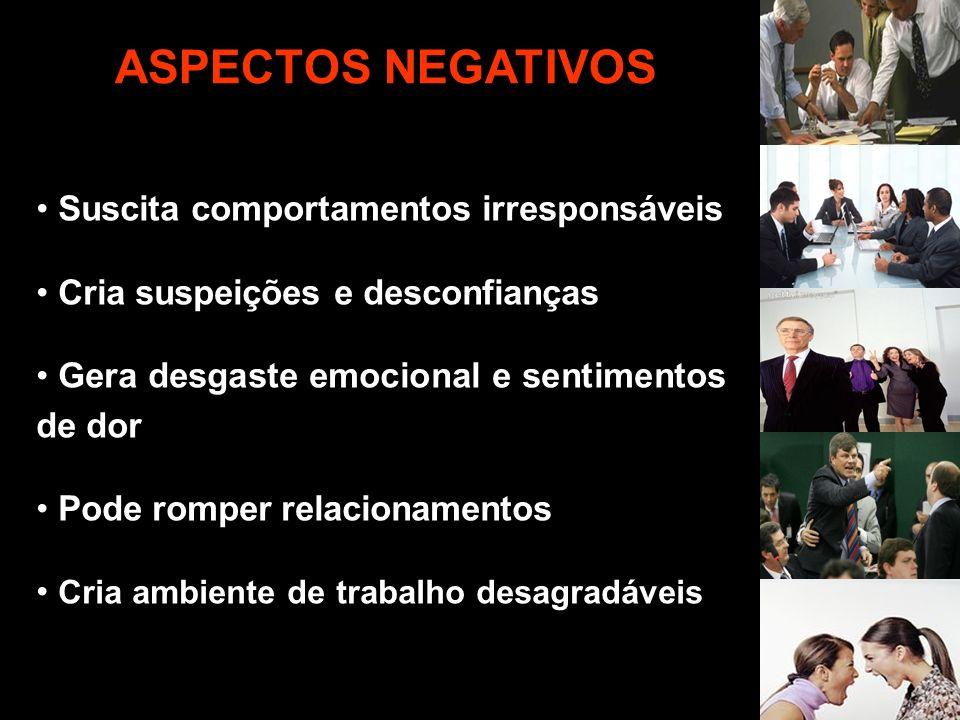 Suscita comportamentos irresponsáveis Cria suspeições e desconfianças Gera desgaste emocional e sentimentos de dor Pode romper relacionamentos Cria am