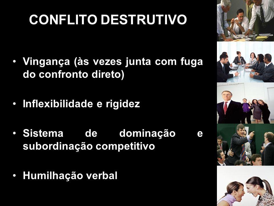CONFLITO DESTRUTIVO Vingança (às vezes junta com fuga do confronto direto) Inflexibilidade e rigidez Sistema de dominação e subordinação competitivo H