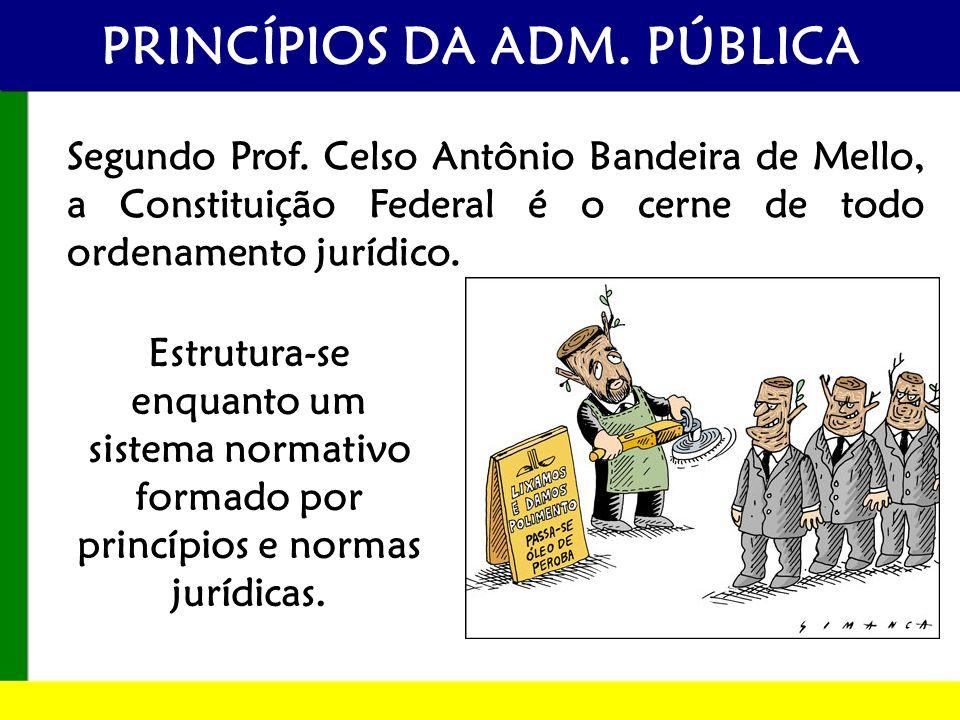 PRINCÍPIOS DA ADM. PÚBLICA Segundo Prof. Celso Antônio Bandeira de Mello, a Constituição Federal é o cerne de todo ordenamento jurídico. Estrutura-se