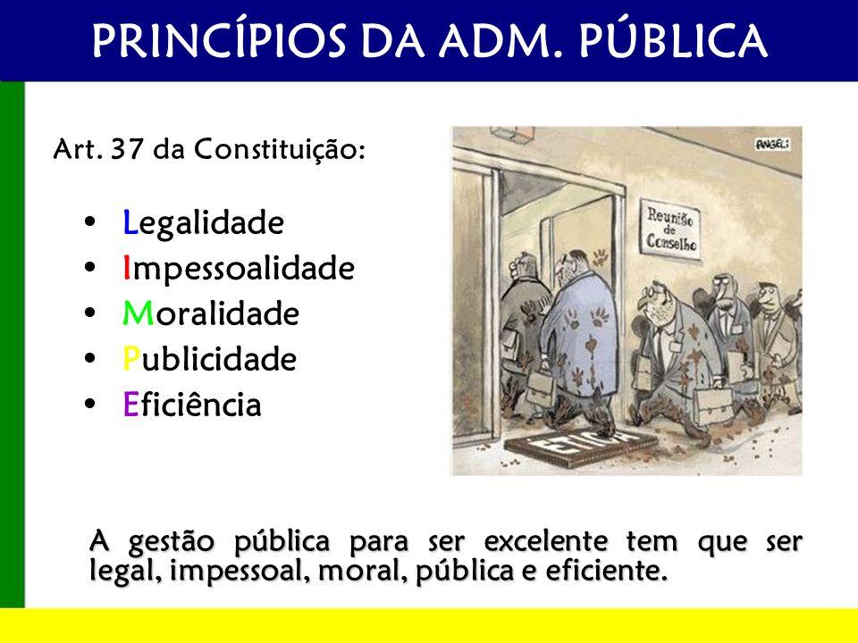 A gestão pública para ser excelente tem que ser legal, impessoal, moral, pública e eficiente. PRINCÍPIOS DA ADM. PÚBLICA Legalidade Impessoalidade Mor
