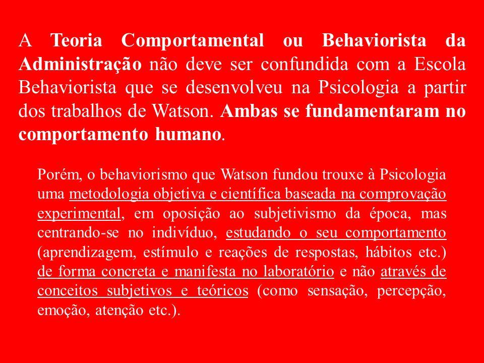 A Teoria Comportamental ou Behaviorista da Administração não deve ser confundida com a Escola Behaviorista que se desenvolveu na Psicologia a partir dos trabalhos de Watson.