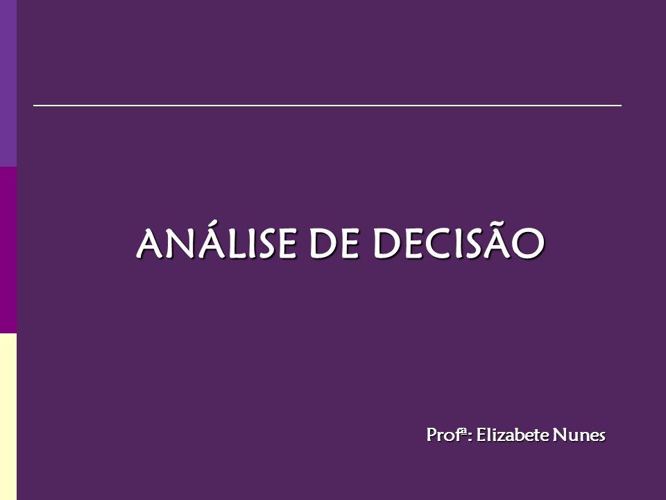 ANÁLISE DE DECISÃO Profª: Elizabete Nunes