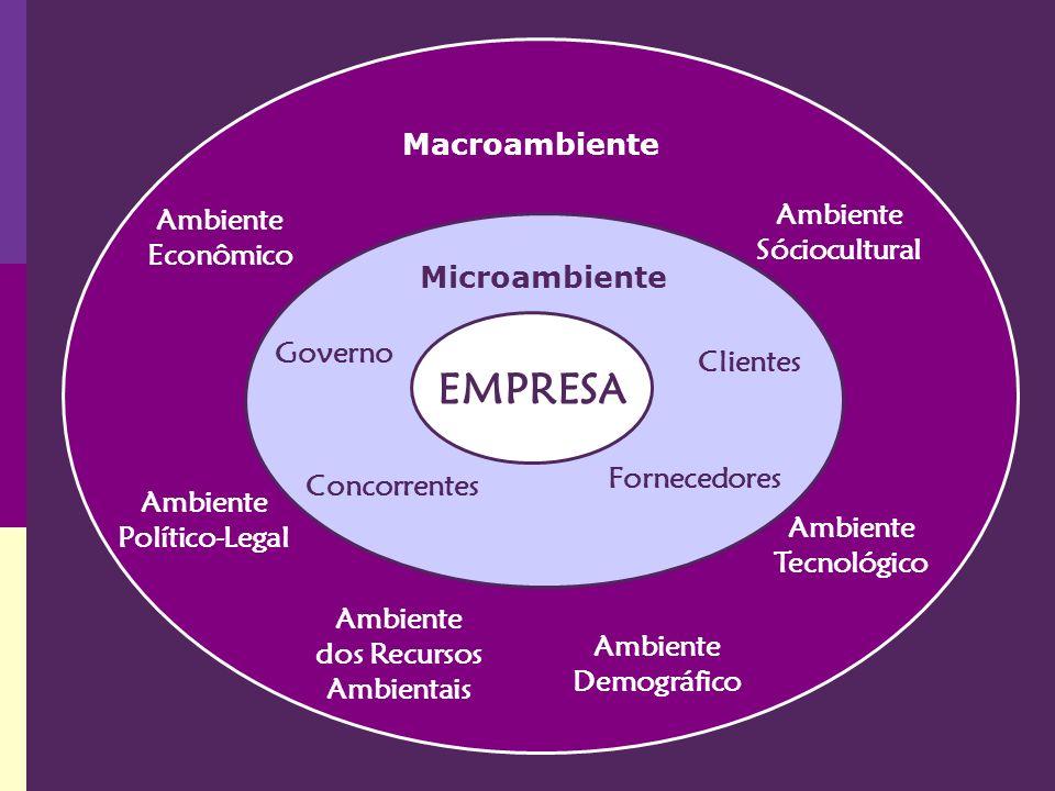 EMPRESA Ambiente Econômico Ambiente Político-Legal Ambiente Tecnológico Ambiente dos Recursos Ambientais Ambiente Sóciocultural Governo Clientes Conco