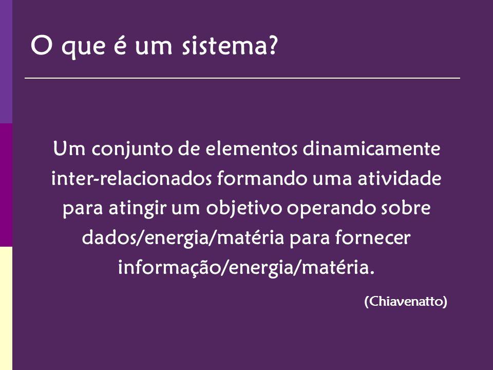 Um conjunto de elementos dinamicamente inter-relacionados formando uma atividade para atingir um objetivo operando sobre dados/energia/matéria para fo