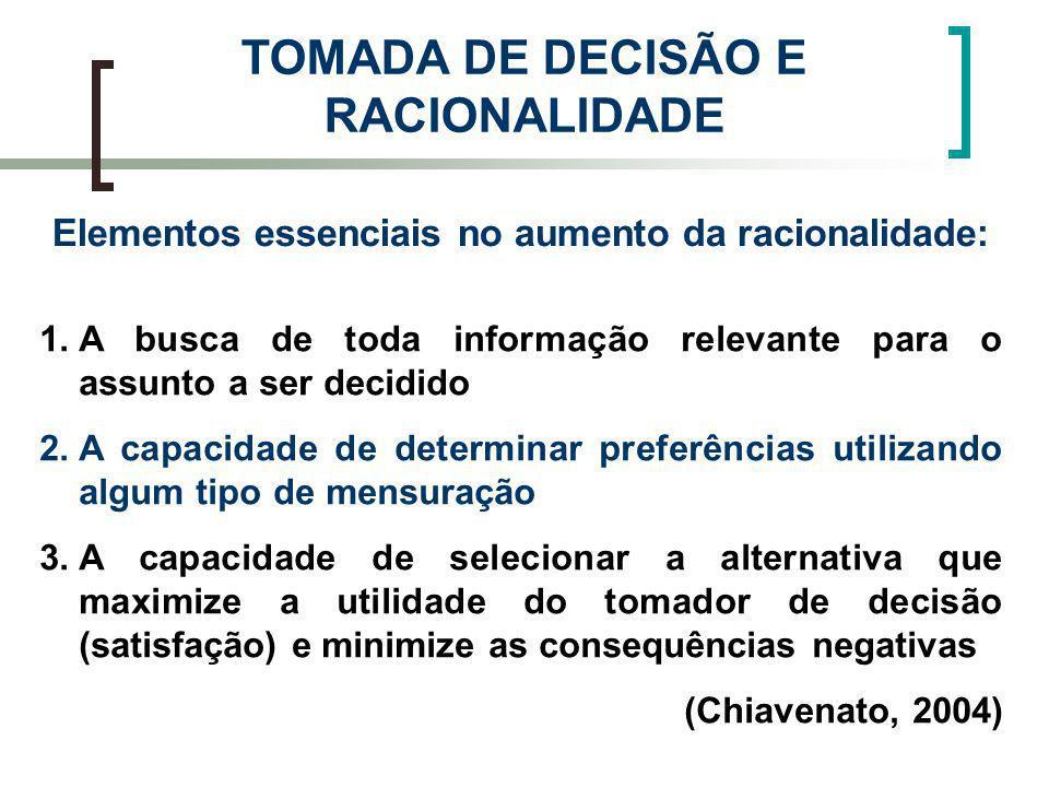 Elementos essenciais no aumento da racionalidade: TOMADA DE DECISÃO E RACIONALIDADE 1.A busca de toda informação relevante para o assunto a ser decidi