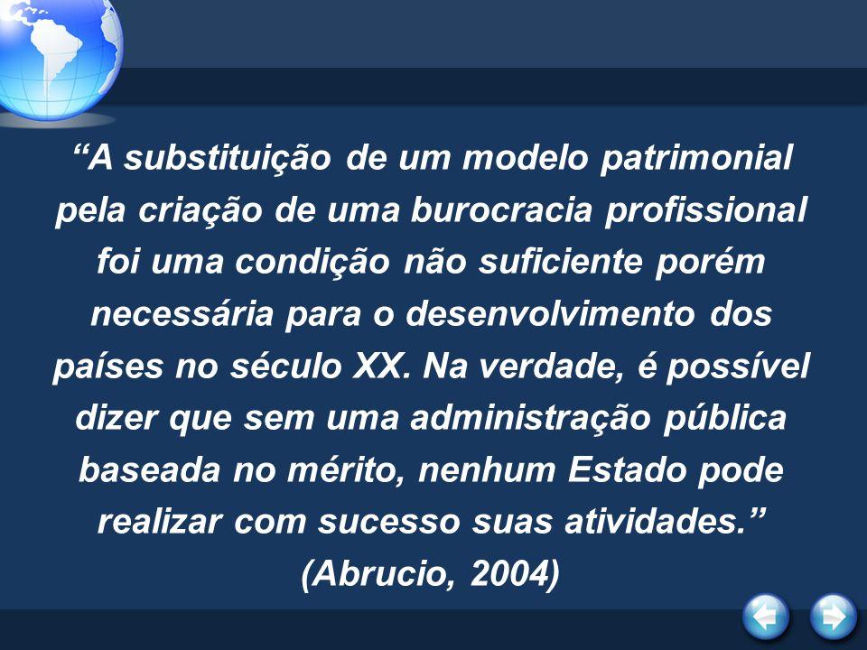 A substituição de um modelo patrimonial pela criação de uma burocracia profissional foi uma condição não suficiente porém necessária para o desenvolvi