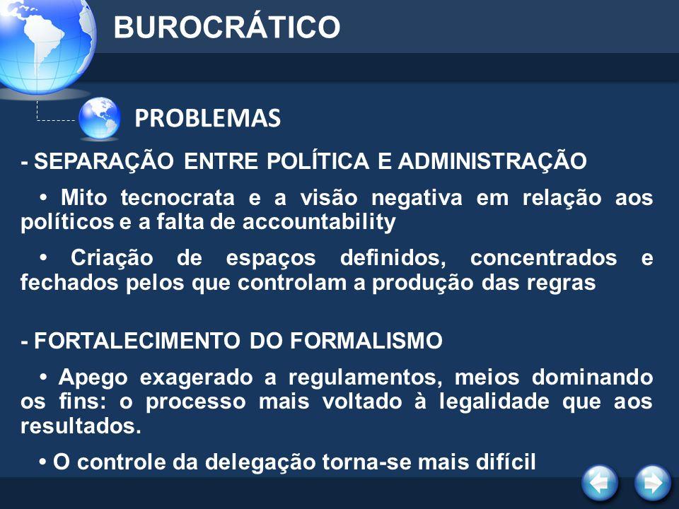 PROBLEMAS BUROCRÁTICO - SEPARAÇÃO ENTRE POLÍTICA E ADMINISTRAÇÃO Mito tecnocrata e a visão negativa em relação aos políticos e a falta de accountabili