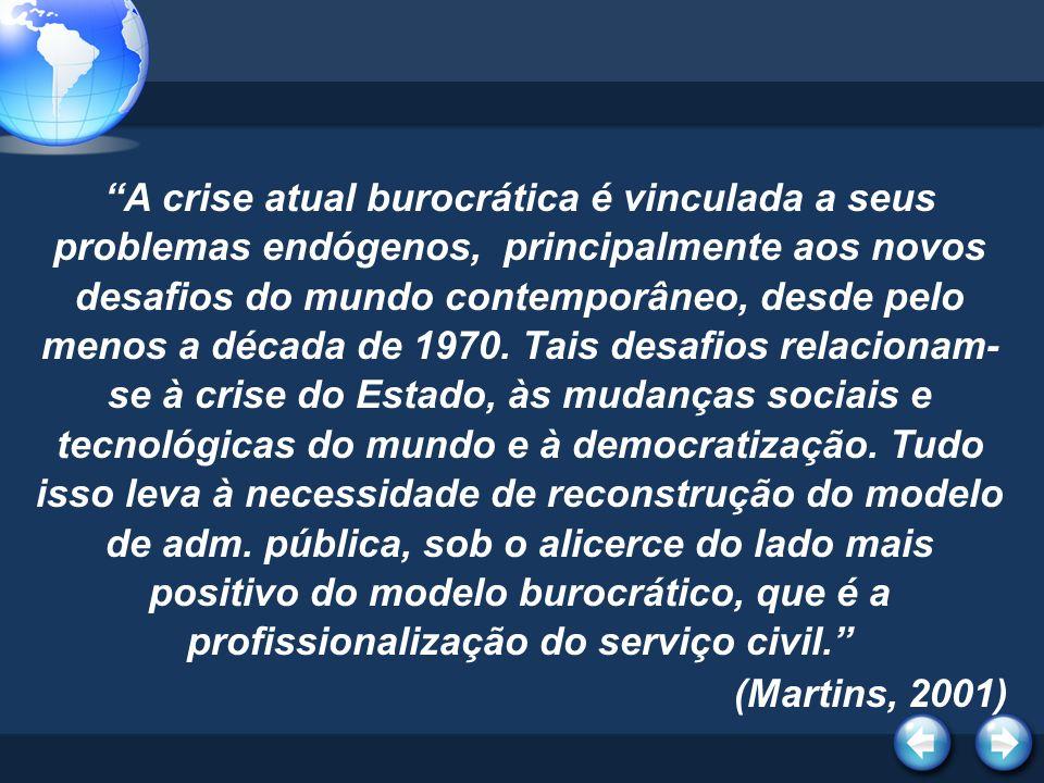 A crise atual burocrática é vinculada a seus problemas endógenos, principalmente aos novos desafios do mundo contemporâneo, desde pelo menos a década