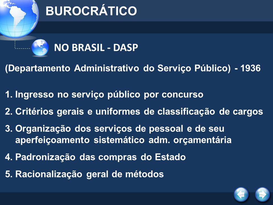 NO BRASIL - DASP BUROCRÁTICO (Departamento Administrativo do Serviço Público) - 1936 1.Ingresso no serviço público por concurso 2.Critérios gerais e u