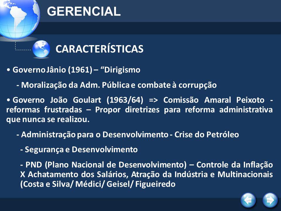 CARACTERÍSTICAS GERENCIAL Governo Jânio (1961) – Dirigismo - Moralização da Adm. Pública e combate à corrupção Governo João Goulart (1963/64) => Comis