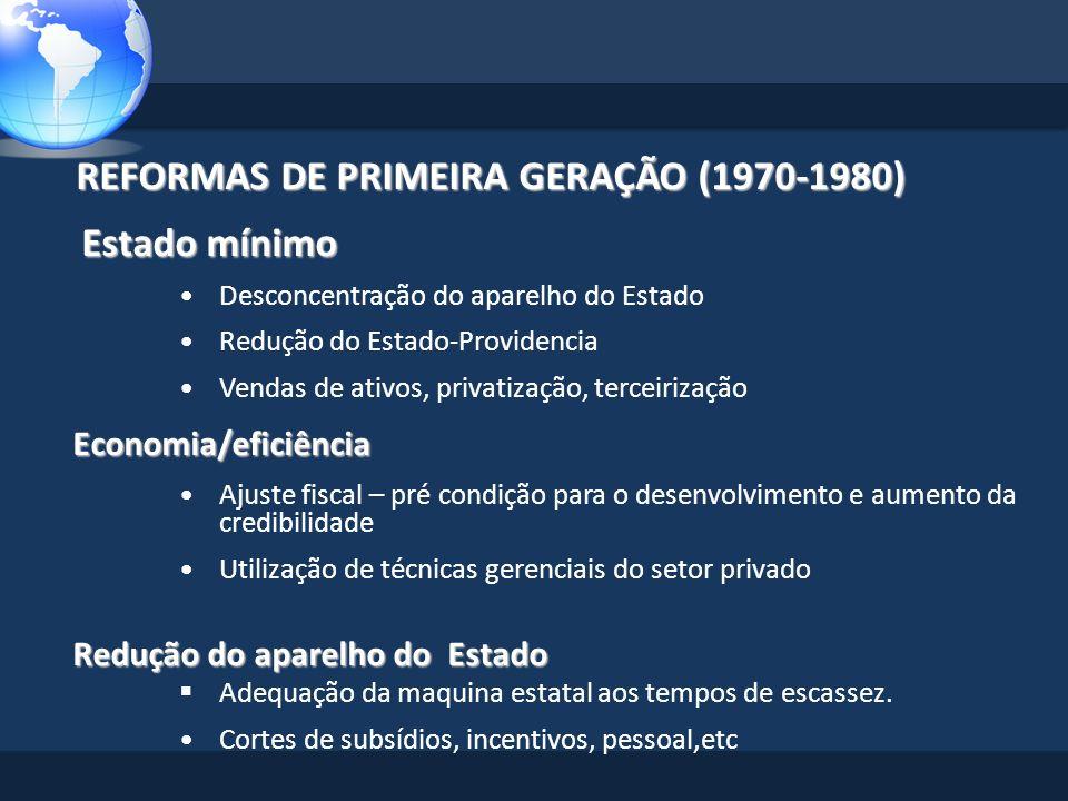 REFORMAS DE PRIMEIRA GERAÇÃO (1970-1980) REFORMAS DE PRIMEIRA GERAÇÃO (1970-1980) Estado mínimo Desconcentração do aparelho do Estado Redução do Estad