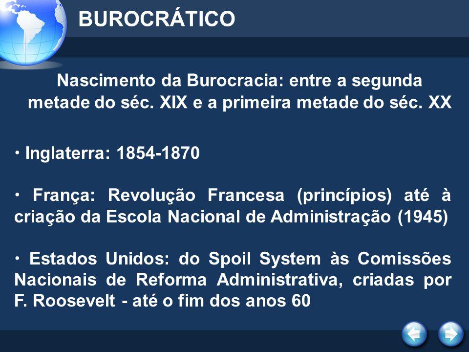 NO BRASIL - DASP BUROCRÁTICO (Departamento Administrativo do Serviço Público) - 1936 1.Ingresso no serviço público por concurso 2.Critérios gerais e uniformes de classificação de cargos 3.Organização dos serviços de pessoal e de seu aperfeiçoamento sistemático adm.
