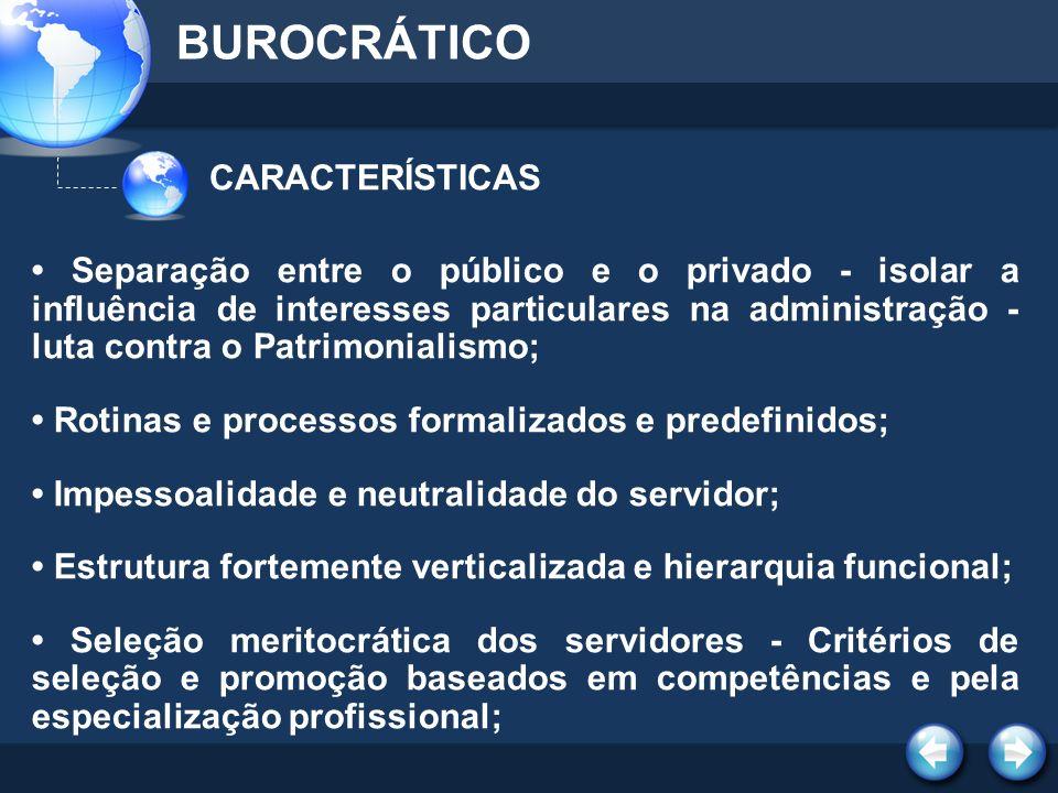 CARACTERÍSTICAS BUROCRÁTICO Separação entre o público e o privado - isolar a influência de interesses particulares na administração - luta contra o Pa