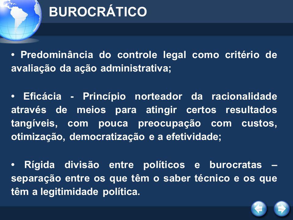 CARACTERÍSTICAS GERENCIAL PROFISSIONALIZAÇÃO DA ALTA BUROCRACIA - Composta de núcleo estratégico, fundamental na formulação, supervisão e regulação das políticas públicas.